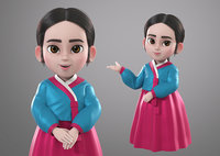Cartoon Korean Hanbok Girl 3d Model Rigged