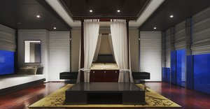 classic canopy bed neat 3D model