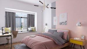 pink bedroom design windowsill model