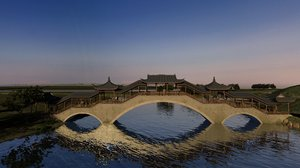 3D model landscape bridges boats chinese