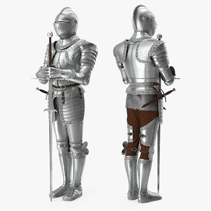 polished knight plate armor model