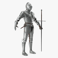 Polished Medieval Knight Plate Armor T-Pose