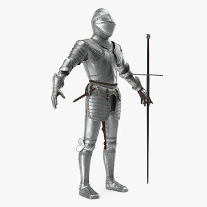 3D polished medieval knight plate armor