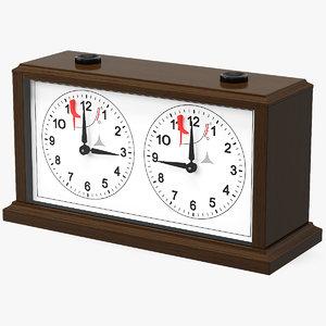 3D model wooden mechanical chess clock