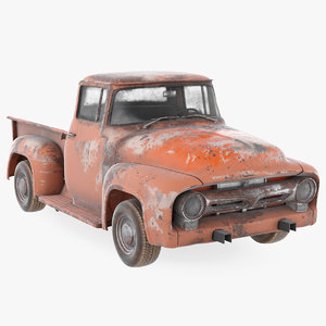 rusty old f100 pickup truck 3D model