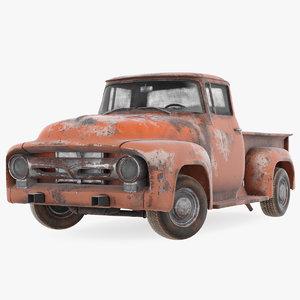 rusty old f100 pickup truck model