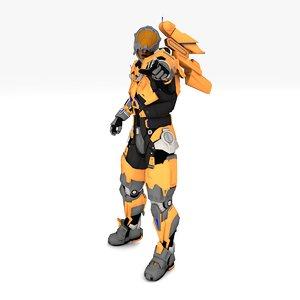 3D model cyberpollon rigged animate