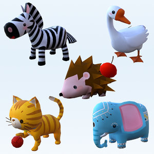 3D cartoon stylized animals 01