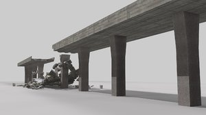 bridge collapse 3 animations 3D model