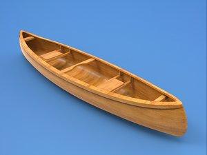 boat canoe watercraft 3D model