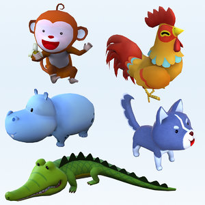 animals chicken crocodile model