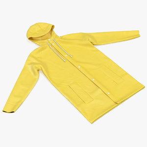 3D folded raincoat jacket rain model