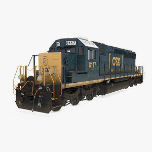 locomotive sd40-2 train csx 3D model