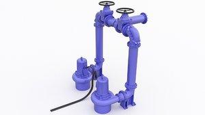 3D model pump sewage station