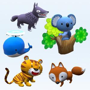 animals fox koala 3D model