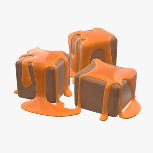 3D caramel candy model