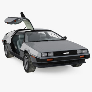 3D delorean dmc-12 rigged dmc model