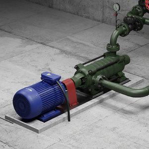 valve multi-section centrifugal pump 3D model