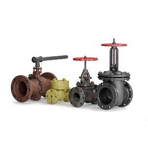 valve shut-off non-return 3D