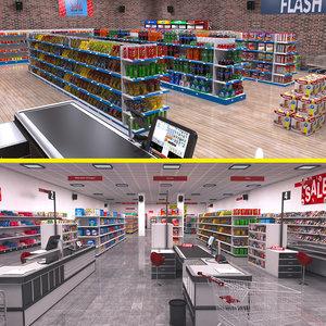 supermarket set 3D model