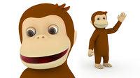 Cartoon Monkey Character 3D model Rigged 3D model