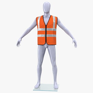 3D mannequin orange hi vis model