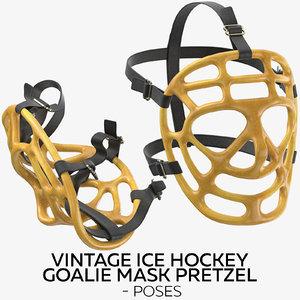 3D vintage ice hockey goalie model
