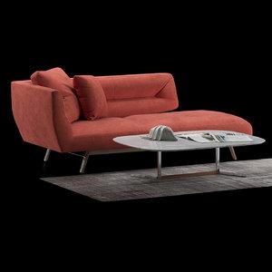 natuzzi velvet sofa 3D model