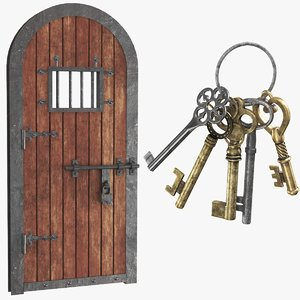 3D model real old door keys