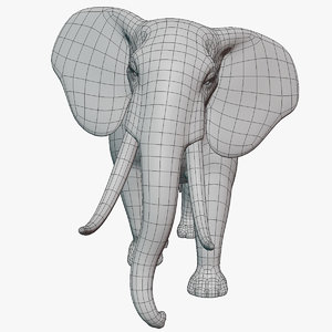 rigged elephant base mesh model