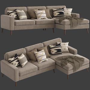 3D cult furniture madison sofa chaise