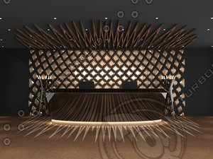 complete reception desk interior 3D