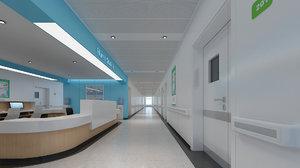 3D hospital hallway model