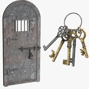 real old door keys 3D model