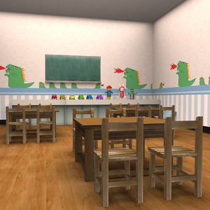 3D kindergarten classroom model