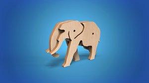 wooden animal toy elephant 3D