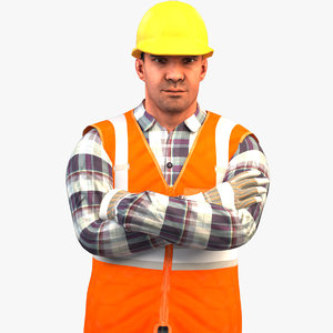 3D rigged worker v2 standard model