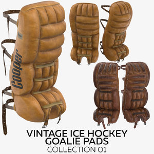 3D vintage ice hockey goalie