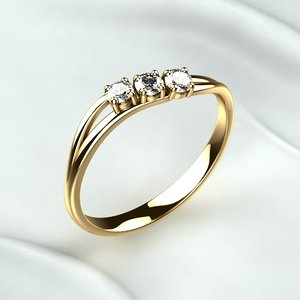 ring golden diamonds 3D