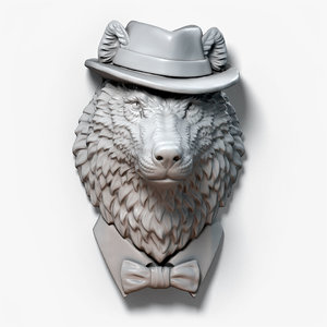 3D wolf gentleman animal head model