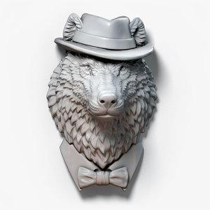 3D wolf gentleman animal head model