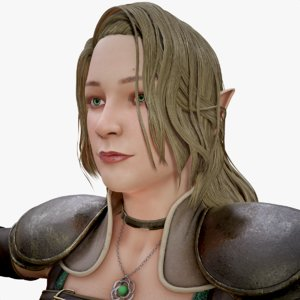 3D elf warrior female