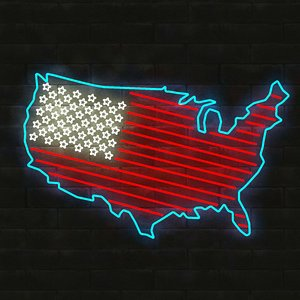 3D neon usa flag