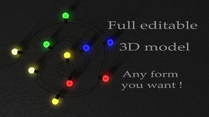 3D editable garland lights