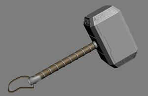 thor hammer mjolnir marvel 3D model