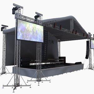 size concerte stage scene 3D model