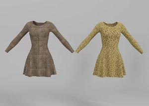 3D model women dress checkered leopard