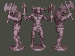 3D minotaur warrior stand4 axes model
