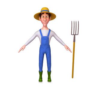 3D farmer cartoon