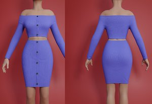 bodycon piece knit dress 3D model